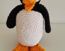 Hand crochet amigurumi penguin toy, Stuffed animal, 100% cotton yarn baby toy