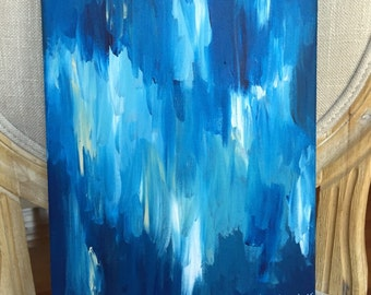 Abstract Blue Painting on Canvas, Navy Blue Painting, Blue Abstract Acrylic Painting