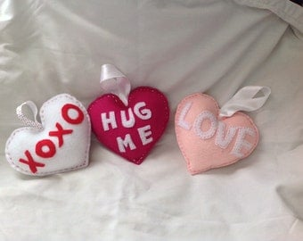 Candy Heart decorative pillows or hangers