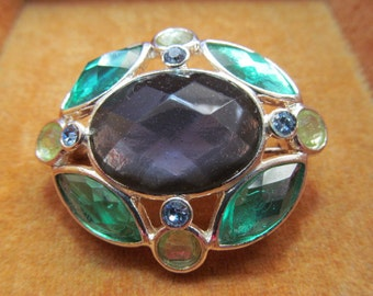 Vintage Brooch multicolored stones with silver-toned setting