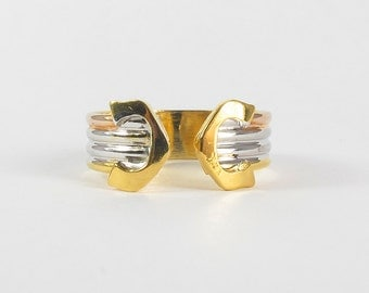 Tri-Color Sterling Silver Ring