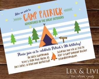 Camping Birthday Invitation - Camp Out Party - Camping Party - Camping Invitation - Sleepover Party Invitation - Boys Birthday