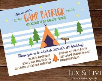 Camping Birthday Invitation - Camping Printable - Boys Birthday - Camp Birthday Invitation - Camp Out - Sleepover Party Invitation - Outdoor