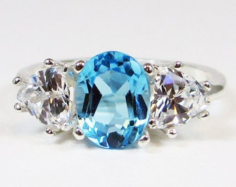 Blue Topaz and CZ Ring Sterling Silver