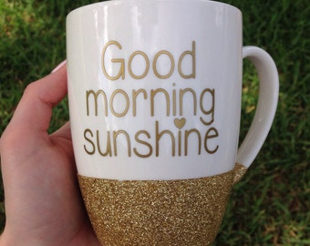 Good Morning Sunshine // Glitter Dipped Coffee Mug