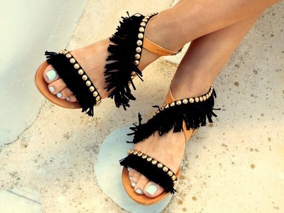 Or rose sandales noirs chics, luxe frange rock sandales, sandales grecques, sandales, escarpins en cuir véritable, chaussures d'été