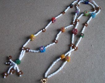Earthy Flowers beaded necklace