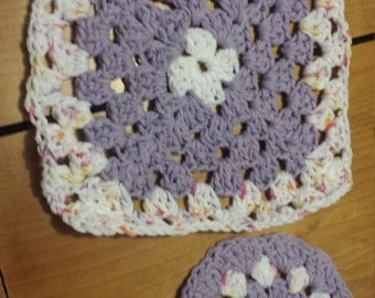 crochet dishcloth and scrubbie set