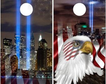 911 Tribute Patriotic Cornhole Wrap Bag Toss Decal Baggo Skin Sticker Wraps