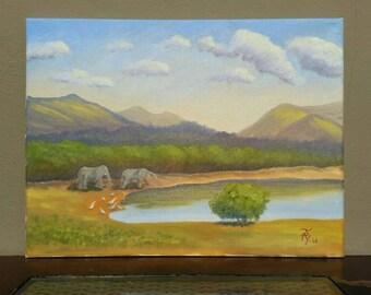 Original Art, Oil Painting, Oil on Canvas, Elephant Painting, Wall Decor