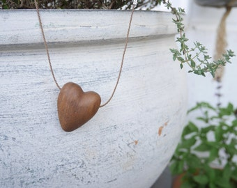 Hand carved Tasmanian Oak heart pendant necklace