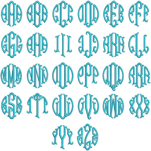 round circle fish tail monogram embroidery fonts by yetiemb