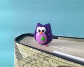 Owl Paperclip Bookmark - 1 Polymer Clay Bookmark, Owl Gifts, Purple Owl, Bird Bookmark, Planner Paperclip, Planner Accessories