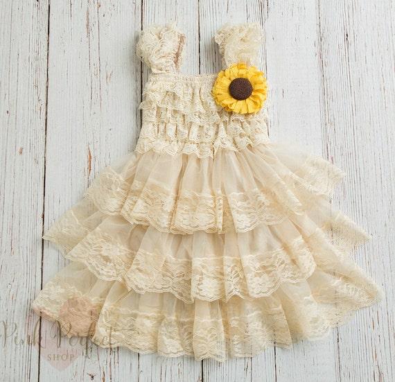 Rustic Flower Girl Dress Sunflower Dress By Pinkperfectshop