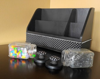 Polka Dot Desk Organizer, Office Organization, Desk Organizer, Black Desk Organizer, Office Set, Desk Set ,Office Decor, Office Storage