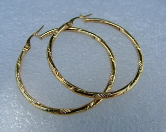 Sale earrings-hoops-textured 9 carat hoops