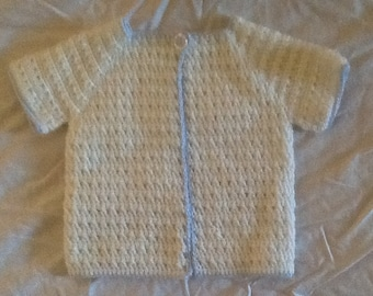 Premier/newborn short-sleeved crochet jacket