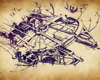 A4 Steam Punk Millennium Falcon Print