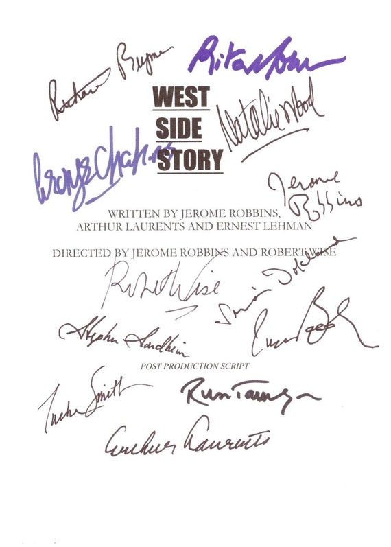 West Side Story Signed Film Movie Musical Screenplay Script Autographs X12 Rita Moreno Natalie Wood Robert Wise Simon Oakland signatures