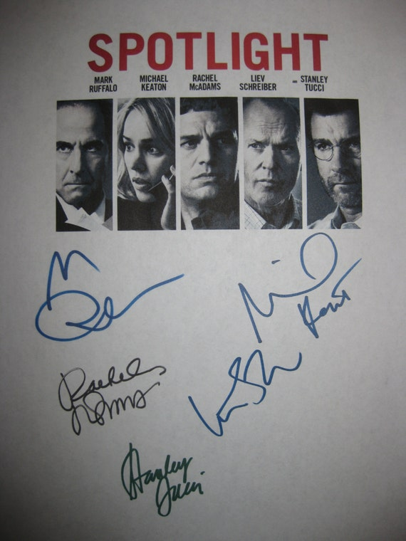 Spotlight Signed Film Movie Screenplay Script autographs signatures Mark Ruffalo Michael Keaton Rachel McAdams Liev Schreiber Stanley Tucci