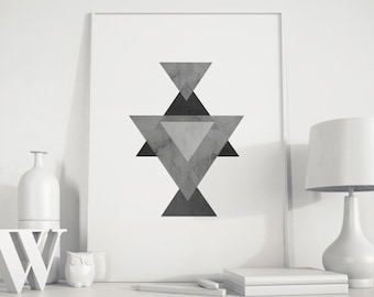 Triangle Art, Gray black Triangle, Wall Print, Geometric art, modern minimalist art, Triangle Printable, Geometric print, Scandinavian art