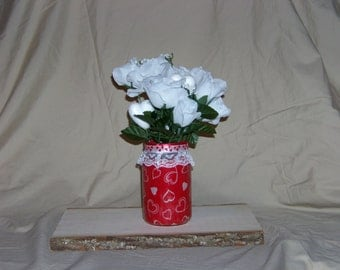 Valentine's Day Fabric Lined Mason Jar