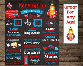 london theme birthday, london chalkboard, girl's london party, big ben, england birthday, british, england chalkboard, first birthday, girl