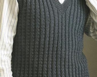 Mens Textured Vest, Knitting Pattern. PDF Instant Download.