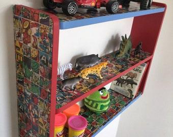 50cm H x 74cm W Handmade Blue & Red Marvel Comic Pine Childrens Bedroom Shelves, Toy Storage.