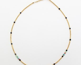 miyuki beads gold gold necklace end (24 carats) and colored beads