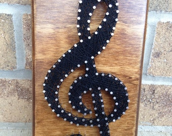 Custom Made  to order String Art Music Treble Clef