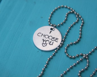 I Choose You, Hand Stamped, Pokemon Inspired Necklace