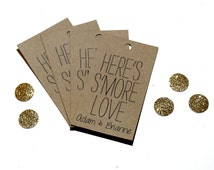 """Printable Favor Tags """"Here's S'More Love"""" - Personalized - DIY"""