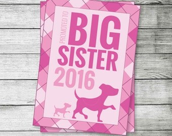 Promoted to Big Sister 2016 Announcement, Puppies - Instant Download