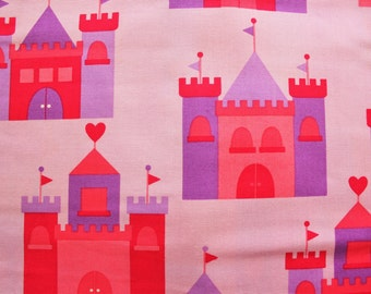 Cotton Fabric / Princess Life Pink Castle / Robert Kaufman/ Quilting Sewing Bed sheets Pillow Cover/ Material / Half Metre