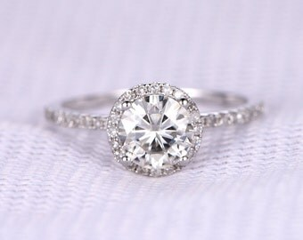 1ct Round Cut Moissanite Engagement Ring 6.5mm C&C Moissanite Ring 14k White Gold Diamond Wedding Band Diamond Ring Custom Jewelry