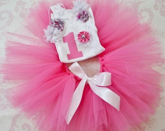 Pink 1st birthday tutu set