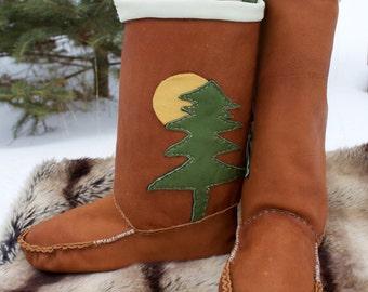 Custom Design Moccasins Children's Any size Handmade TREE MOTIF