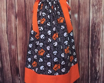 Pillowcase halloween dress, Jack halloween dress, Pillowcase dress, Black  and orange dress, Jack Kellington pillowcase dress