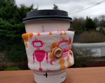 Reusable Coffee Sleeve - Robots
