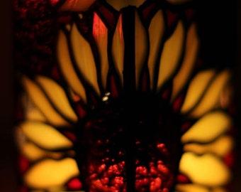 "candlestick ""Sunflower"" - stained glass, handmade"