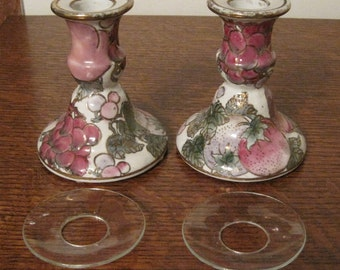 Reduced 20%! Ceramic Candle Holders, Toyo Candle Holders, Pink and Green Candle Holders