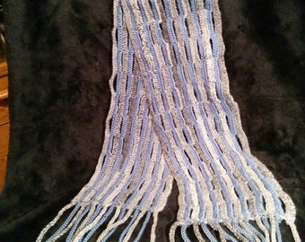 Blue and Grey Crochet Scarf