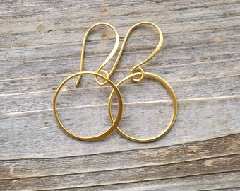 Gold hoop earrings small / Satin 24K Gold Plated circle earrings / Small dangle hoop earrings / Gold hoop earrings / Gold circle earrings