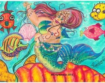 Mermaid - Whimsical Art, Giclee Print, Bright Colors, Acrylic Painting Print, Wall Art, Wall Decor