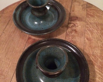 hand made pottery, candle holders, blue-green colour, studio pottery