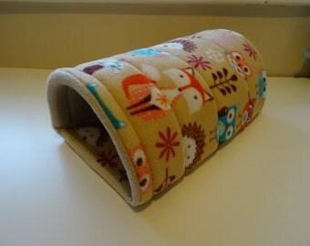 Woodlands Print Fleece Foam Large Guinea Pig Tunnel Bed