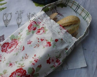 Baguette bag,French bread bag,eco shopping bag,eco home wares,bread storage,bread stick carrier,fabric shopping bag,shabbychic,rustic,floral