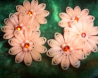 Vintage - Acrylic Flower Earrings - Peach  or Salmon Clip