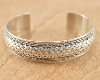 Woven Inlay Cuff Bracelet Sterling Silver 19.7g Vintage Estate